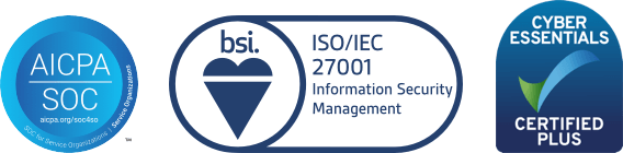 ISO 27001, SOC 2 and Cyber Essentials Plus certification badges