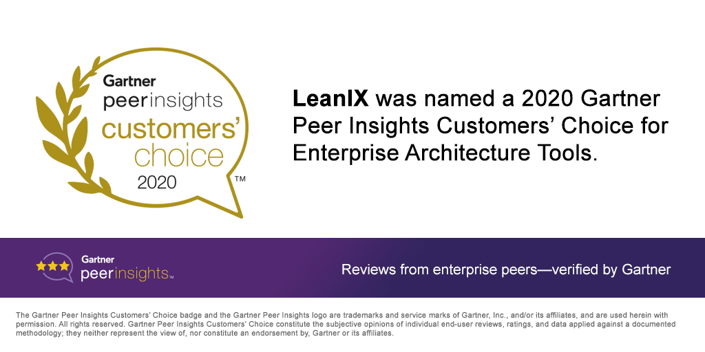 LeanIX Named a 2020 Gartner Peer Insights Customers' Choice with the Highest Overall Rating