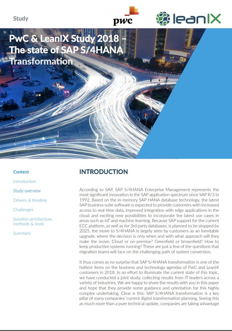 PwC & LeanIX Studie 2018 - Der aktuelle Stand zur SAP S/4HANA Transformation (Englisch)